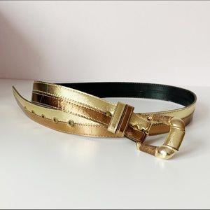 90s vintage gold and bronze metallic shiny belt